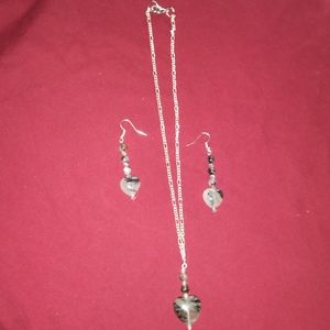 Jewelry - Dalmatian Jasper heart necklace and earrings